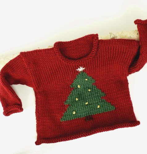 Free Knitting Pattern for Christmas Sweater - This holiday pullover for toddlers features a tree. Sizes 1 year, 2 years, 4 years. The pattern is at the Web Archive. Pictured project by michellelsmith