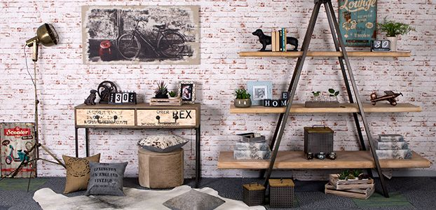 Easy Industrial! Don't forget to add soft additions to bricks including raw linen curtains, felted wool cushions and cowhide rugs.