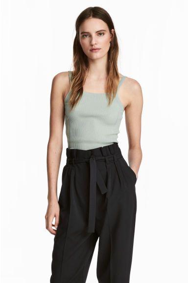 Fine-knit strappy top - Dusky green - | H&M CA 1