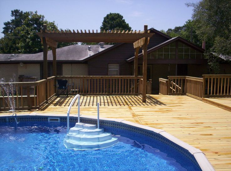 Create a backyard oasis around your in ground or above ground pool sunset decks can design a deck to enhance your pool area check out our wood decks and