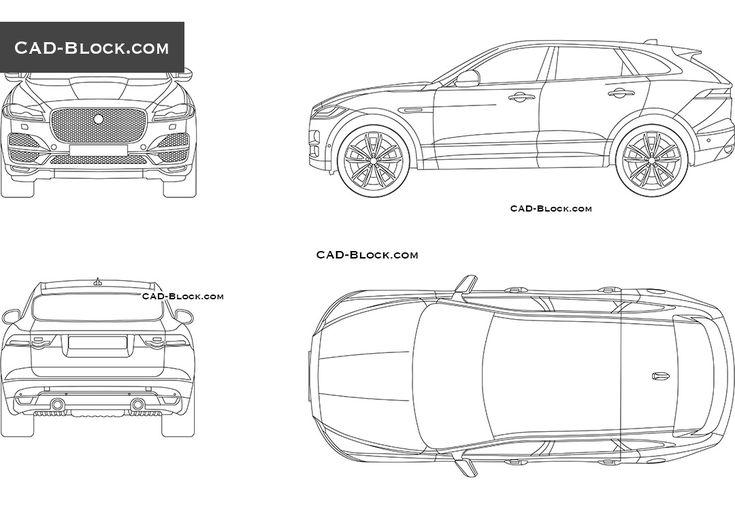 Jaguar F-Pace free CAD drawings