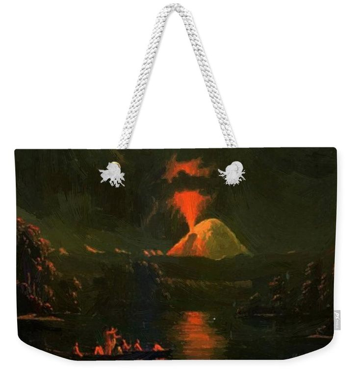 Mount Weekender Tote Bag featuring the painting Mount St Helens Erupting At Night by Kane Paul