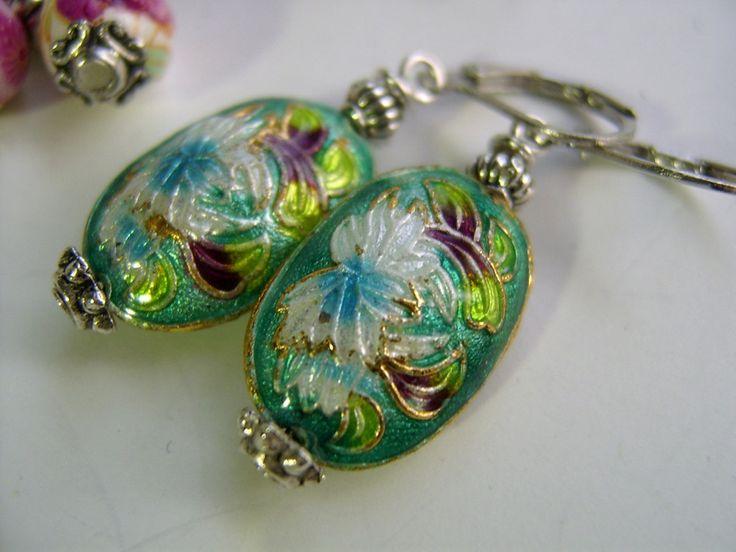 Ohrringe - Ohrringe,petrol, grün, Emaille - ein Designerstück von kunstpause bei DaWanda