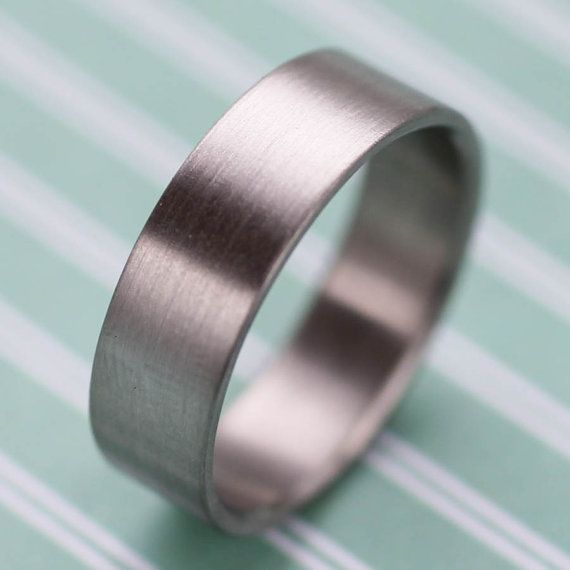 6x1 25mm Flat Men S Wedding Band Gold Or Palladium Wide Bespoke Eco Friendly 100 Recycled Ring Brushed Finish Modern Simple