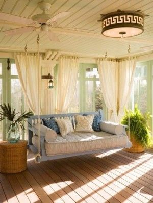 Sunroom : Shabby Chic Sunroom Decor On A Budget   with Floral Pattern White Sofa Set  and Small Dining Area  along with Glass Windows  along with Beautiful View of LAke  along with - Sunroom: Sunroom Decorating Ideas, Beautiful Sun Room Decorating Idea  with Hanging Chair  and Drum Ceiling Light  also Wooden Floor  along with White Curtains  and medium version