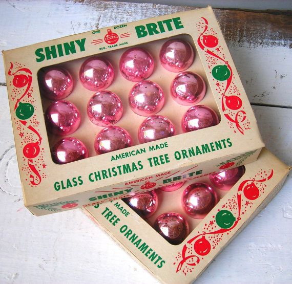 Vintage Shiny-Brite Pastel Pink Glass Tree Ornaments...American Made Feather Tree Mini Ornaments in Blush in Original Box  --  need these for girlies tree