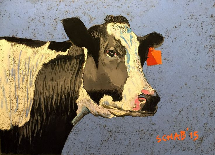 Cow with orange earring- A3 paper, soft pastels