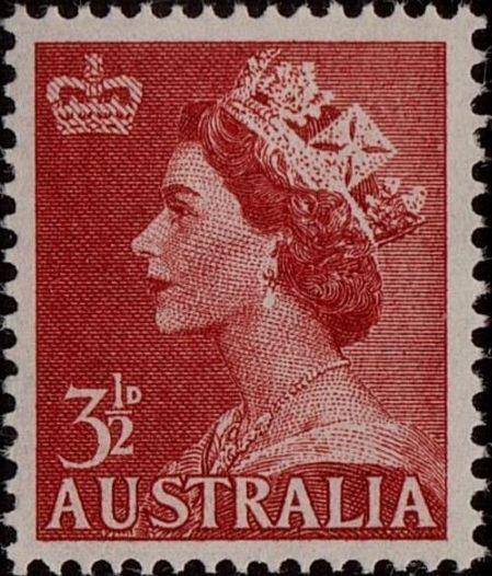 ACSC 297A) 1956. Queen Elizabeth II. 3½d. Perforation 15 x 14. No watermark. Carmine-Red