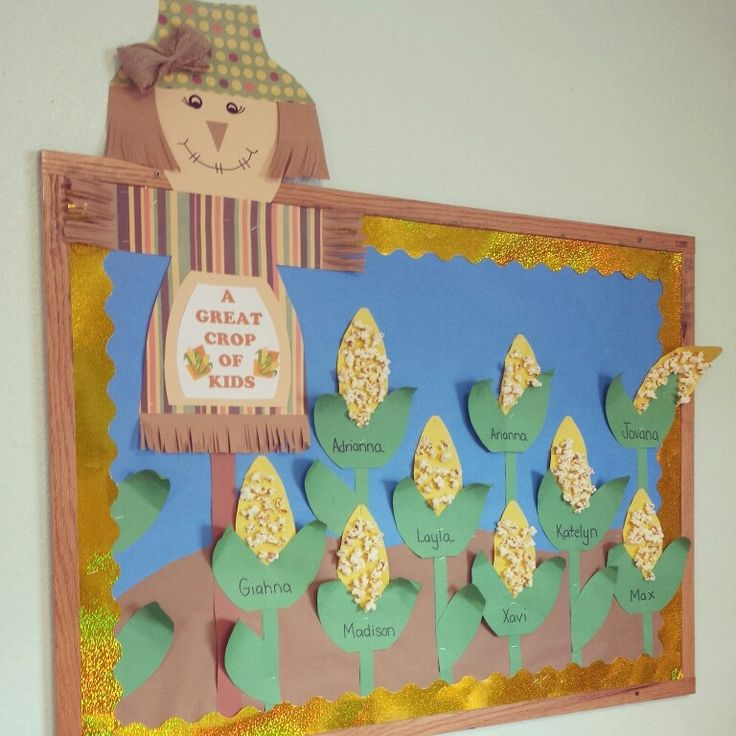 """Bulletin Board """"A great Crop of Kids"""" with Scarecrow and Corn. Great for fall, autumn, harvest, or farm units."""