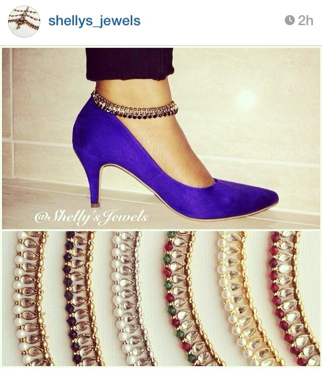 Beautiful anklets by amazing jewelry designer! Perfect way to add a bit of desi flare to any outfit or heals!