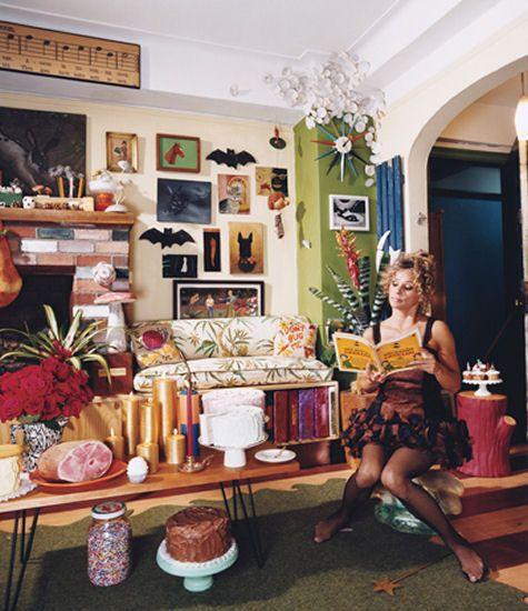 Amy Sedaris' Home. It's like if my bedroom was on drugs kinda.    http://www.designsponge.com/2007/11/sneak-peek-amy-sedaris.html