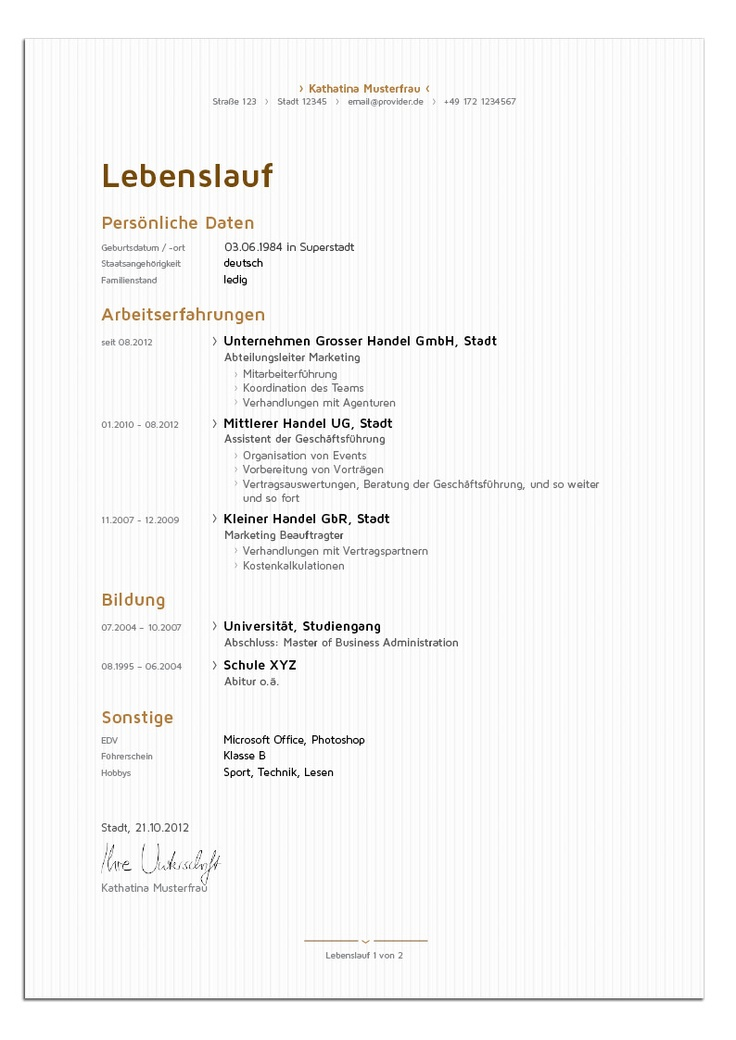 Bewerbungsdesign - Edle Managerin (Lebenslauf)