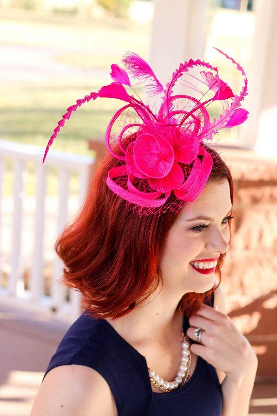 Hot Pink Fascinator Womens Tea Party Hat Church Derby Fancy Bachelorette Wedding