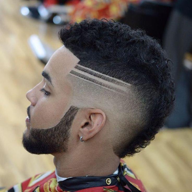 dégradé progressif avec trait sur cheveux crépus.