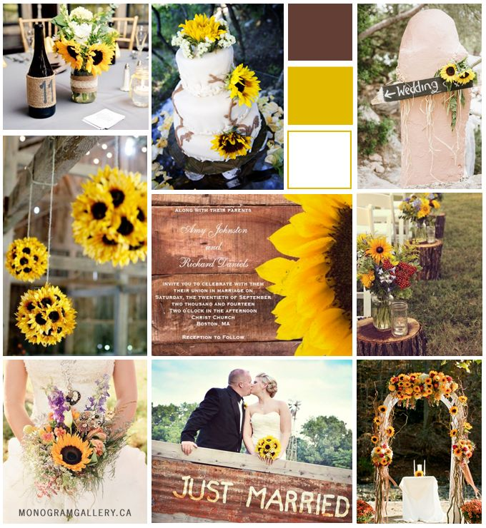 Rustic Sunflower Wood Wedding Invitation Collection by