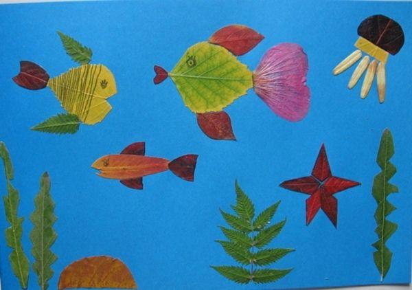 Kindermalerei Fische See Collage selber machen