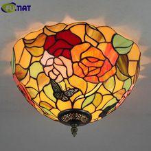 FUMAT Бабочка Роуз Тиффани Потолочный Светильник Старинные Тиффани Витражи Потолочные светильники для Спальни Гостиная Плафон Dia35cm(China (Mainland))