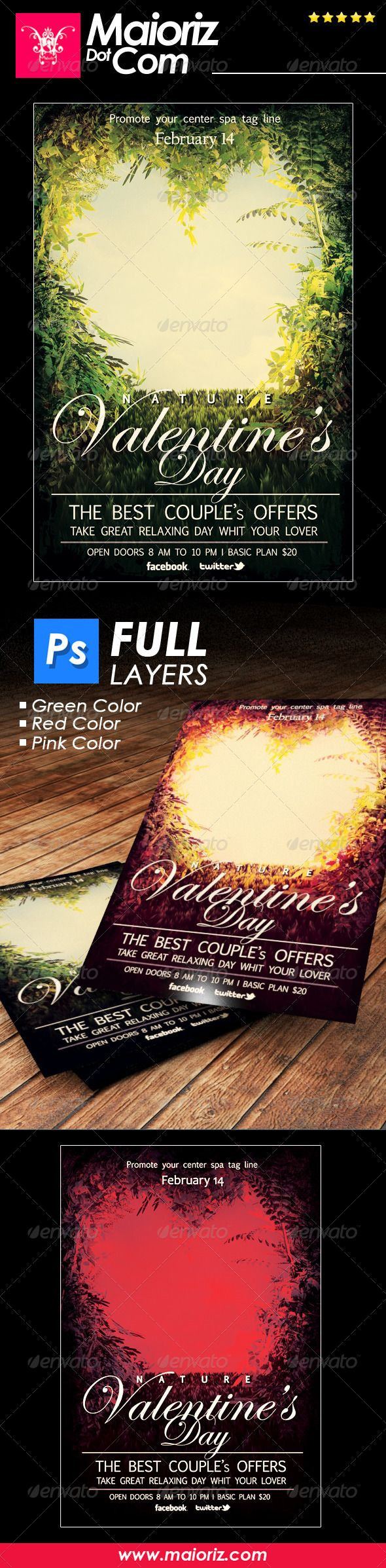 Nature St Valentine Flyer — Photoshop PSD #valentines #valentines day • Available here → https://graphicriver.net/item/nature-st-valentine-flyer/6806493?ref=pxcr