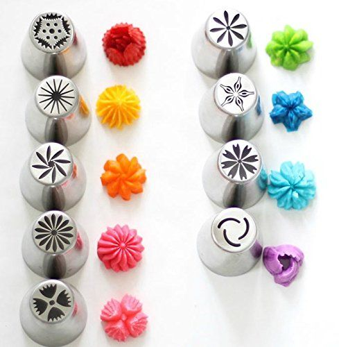 Amazon.com: Russian Piping Tips 29 PIECE Set (8 Nozzles 20 FREE Disposable Bags + FREE Coupler) 304 Stainless DELUXE Nozzle Kit for Decorating Cake and Icing Cupcake Be like a PRO in Cake Decorations BARGAIN: Kitchen & Dining