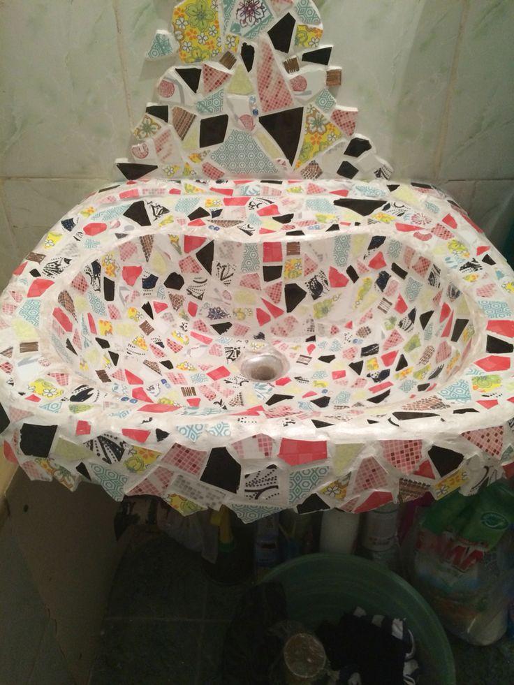 Mosaic tiles. Sink
