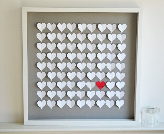 Wedding Guestbook Alternative 3D Hearts  by HeartworkMemories, $180.00