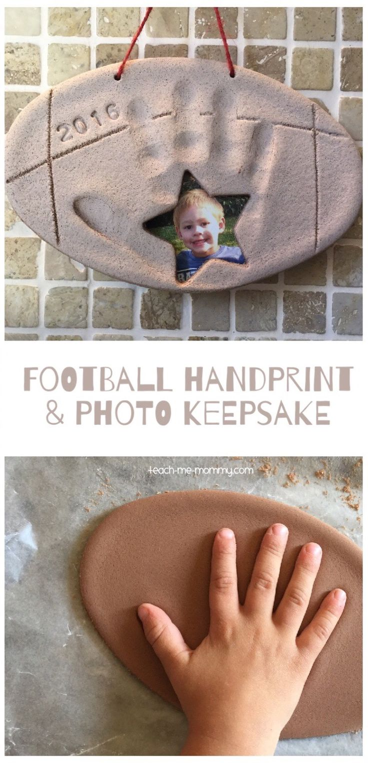 Football Handprint & Photo Keepsake Make this super cute football keepsake for daddy this coming Father's Day!