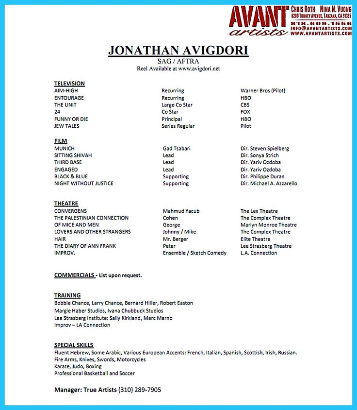 acting resume template sample child actor free word theatre