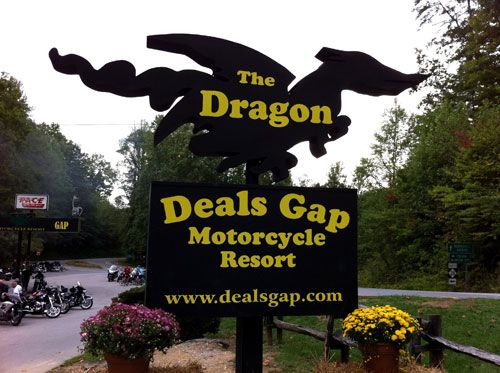 Picture of the Deals Gap Sign at the Tail of the Dragon on US129 in NC and TN
