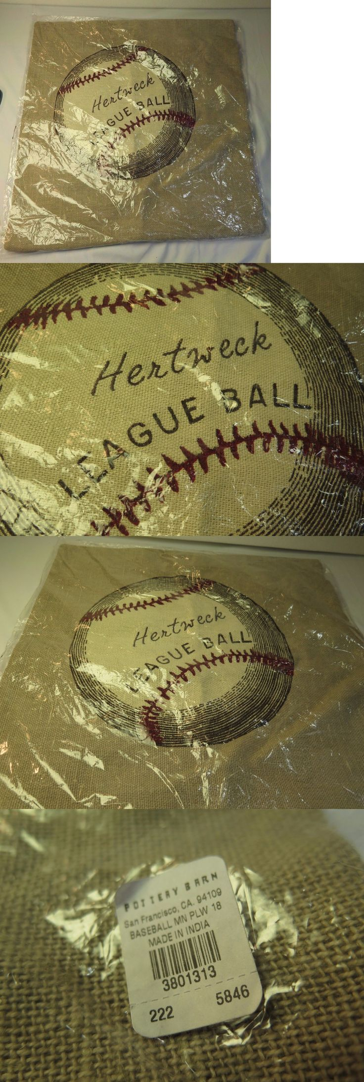 Pillows 20563: New Beautiful Embroidered Pottery Barn Pillow Cover Baseball Hertwrek 18 X 18 -> BUY IT NOW ONLY: $33.94 on eBay!