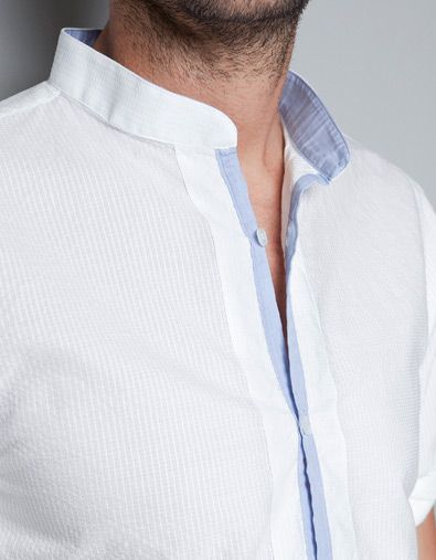 MAO COLLAR SHIRT WITH CONTRAST DETAIL - Shirts - Man - ZARA