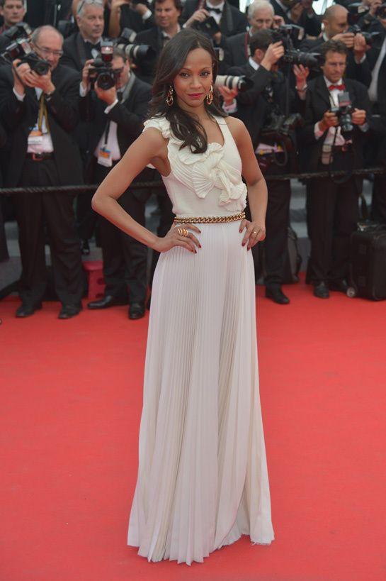 Zoe Saldana in Victoria Beckham Fall/Winter 2014-2015, Christian Louboutin heels and De Grisogono jewelry
