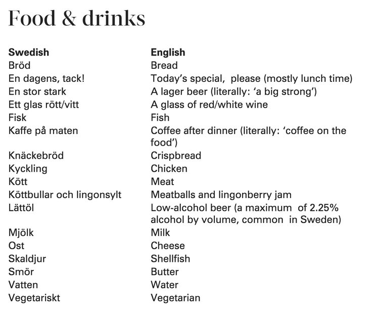 Swedish to English translation for words relating to food and drinks. https://sweden.se/culture-traditions/swedish-glossary/