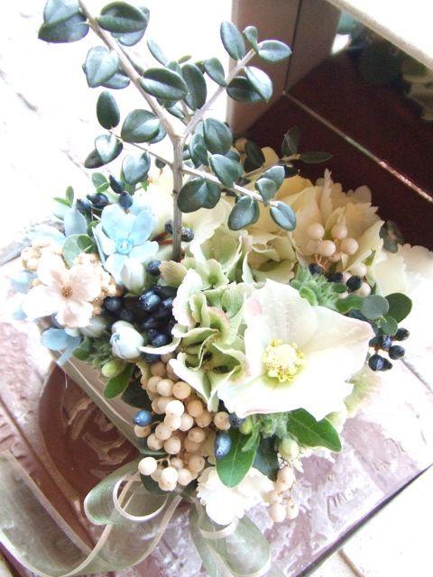 生花を使ったリングピロー