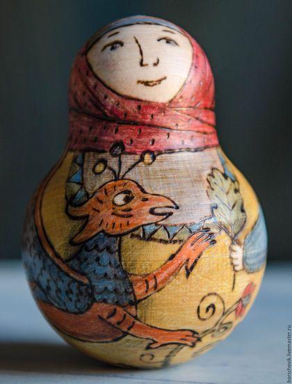 Народные куклы ручной работы. Неваляшка музыкальная. Марина Сергей (BORSCHEVIK). Интернет-магазин Ярмарка Мастеров. Роспись по дереву, для детей
