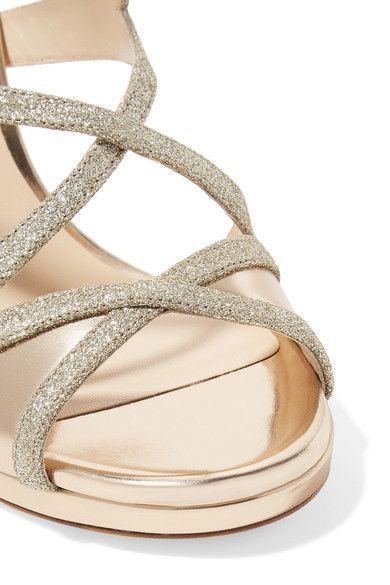 Jimmy Choo - Marianne Glittered Leather Sandals - Gold - IT