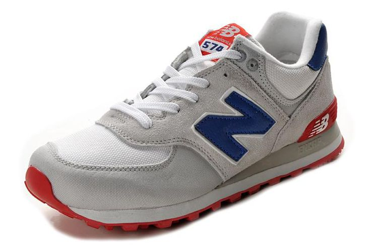 new balance 574 white blue red cross