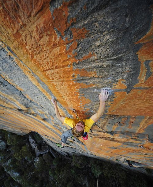 First ascent of Chinook (28, 5.12d), Taipan, Australia.  I love the color streaks.