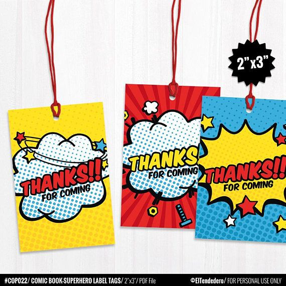 Superhero Favor Tags Printable Thank You Cards Favor Bag Tags Pritnable Baby Shower Comic Party Favor Tags Stickers Treat Gift Decor Baby Shower Favors Superhero Baby Shower Superhero Favors