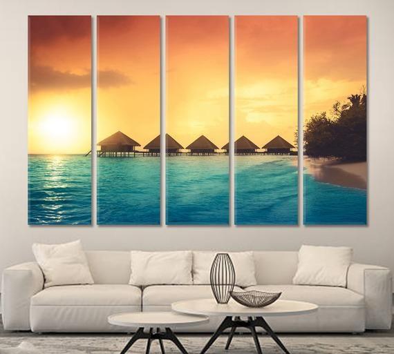 Sunset Maldives Island Water Villas Resort Tropical Beach Wall
