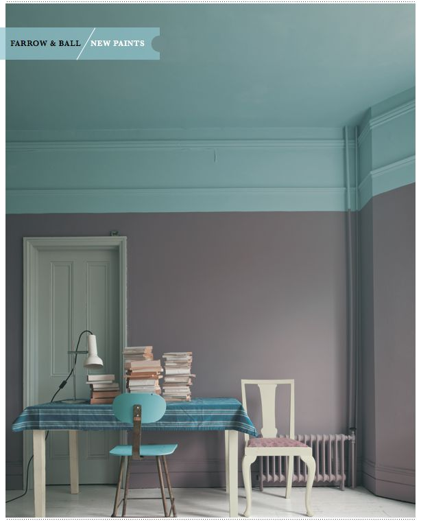 Farrow and ball. Wall: brassica 271. Ceiling: stone blue 86. Door: manor house grey 265. Chair, table: corn forth white, 228.