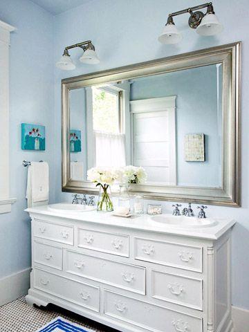 giant framed mirror for bath: Small Bathroom, Old Dressers, Large Mirror, Masterbath, Bathroom Vanities, Bathroom Mirror, Master Bath, Bathroom Ideas, Frames Mirror