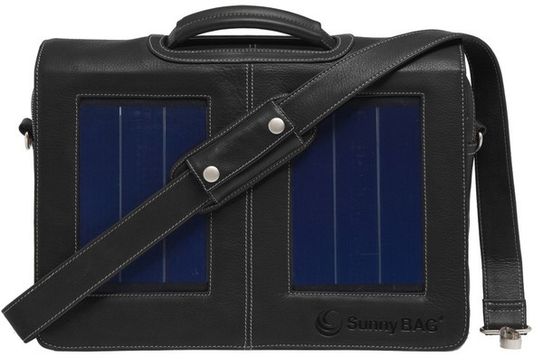 SunnyBAG Business Professional Black Leather - solar power messenger bag that charges your mobile devices while you go!