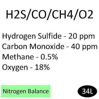 20 ppm Hydrogen Sulfide, 40 ppm Carbon Monoxide, 0.5% Methane or 10% LEL, 18% Oxygen, Balance in N2, 34 liter, Calibration Gas