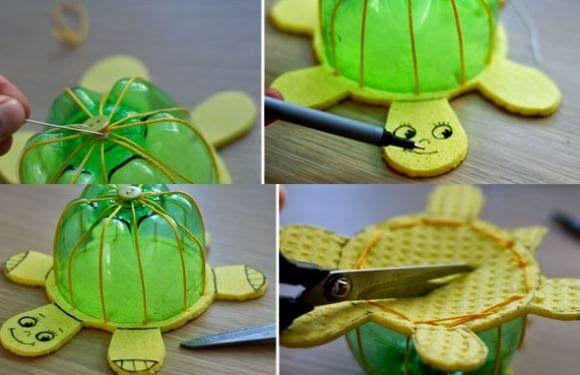 Cómo hacer una tortuga infantil reciclando botellas pet