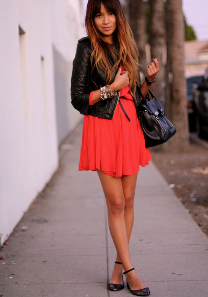 everything. flouncy red dress (Alexa Chung for Madewell), leather jacket (ASOS), and snakeskin flats (Zara)