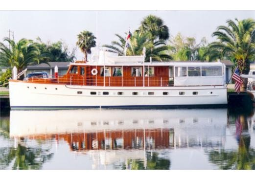Someday I will own a Trumpy. This classic yacht was built in 1937 by Mathis Yacht Company in Camden, New Jersey. She is hull # 233, the design of John Trumpy. The yacht is 61 ft in length, 16 1/2 feet in width and 4 feet 6 inches below the water line, a full keel displacement hull.