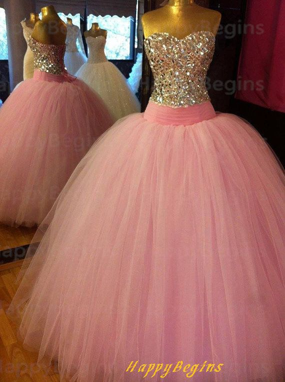 Long Prom Dress, Beaded Open Back Pink Prom Dress/ Ball Gown/ Evening Dress/ Formal Dress