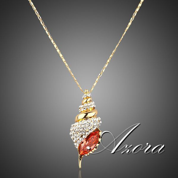 AZORA Winkles Design 18K Real Gold Plated Red Color Stellux Austrian Crystal Paved Pendant Necklace TN0001