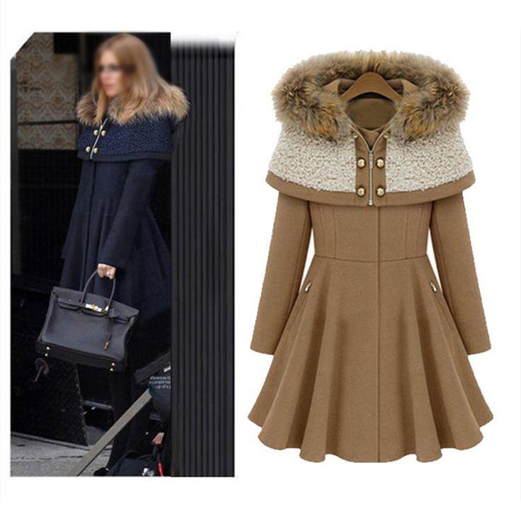 Buy now at -50% discount (y) Woman Coat Woolen Jackets 2016 Winter Jacket Women Lolita Coats Removable Hodded Zipper Fur Collar Lady Long Overcoat