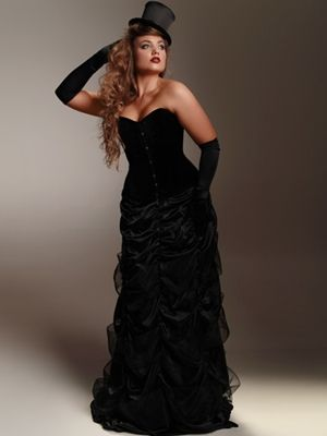This elegant long skirt has rows and rows of black satin with